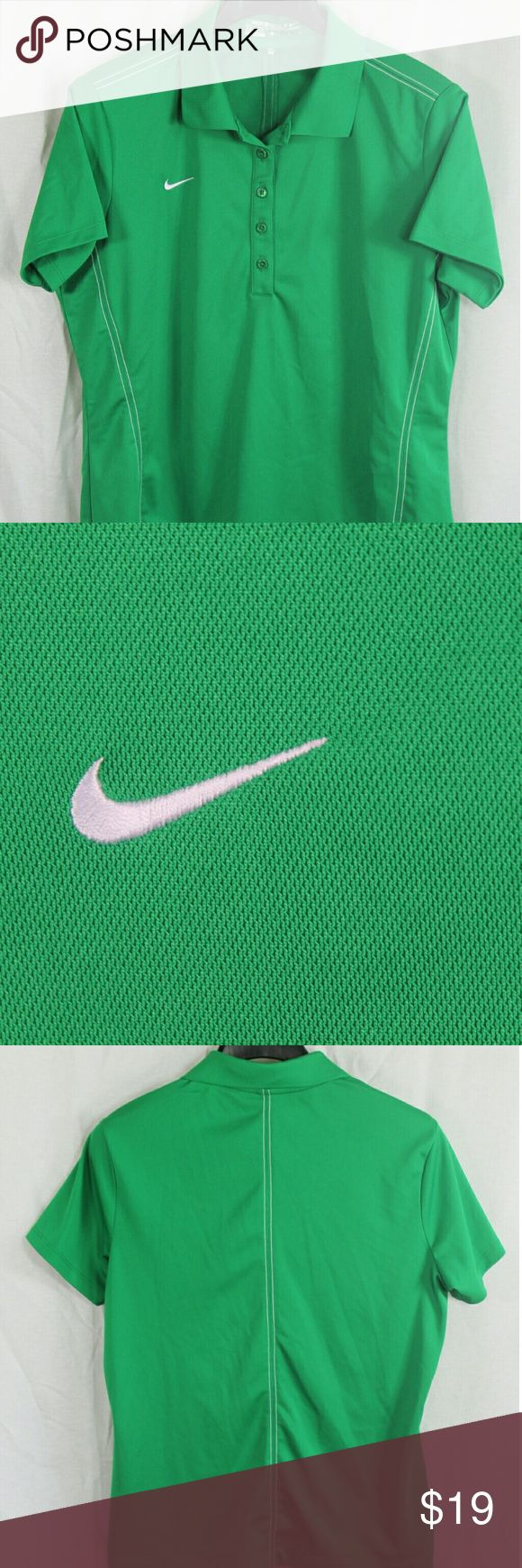 """YOUTH NIKE GOLF GREEN DRI-FIT POLO SHIRT LARGE BRA SIZE:     YOUTH LARGE    ARMPIT - TO - ARMPIT:     18""""   LENGTH DOWN BACK:     25""""   STYLE:     POLO   MATERIAL:     100% POLY   CONDITION:        BRAND NEW WITHOUT TAGS. SOURCED DIRECTLY FROM A NATIONAL UPSCALE U.S. RETAILER. QUALITY AND AUTHENTICITY GUARANTEED! Nike Shirts & Tops Polos"""
