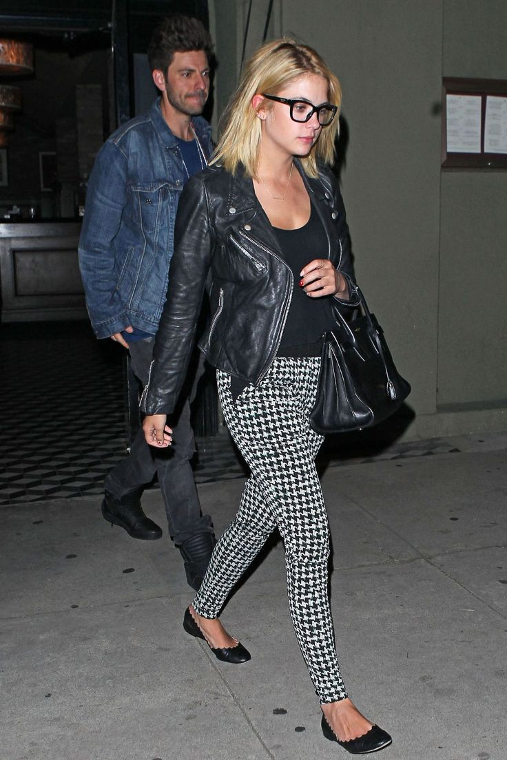 March 7, 2014 - Ashley Benson seen at Craig's Restaurant in West Hollywood. style formula: patterned trousers + tshirt + motorcycle jacket + structured handbag