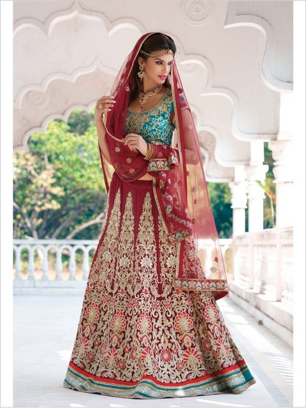 Maroon Wedding Georgette Women Lehenga