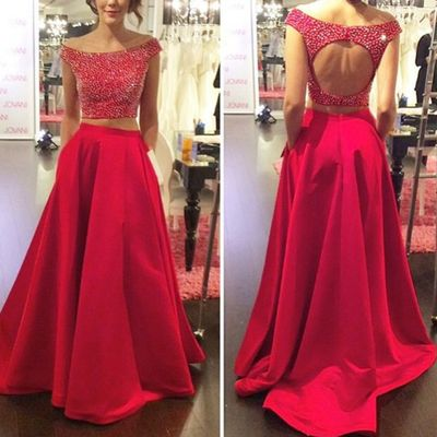 Two pieces red prom dresses,beaded prom dresses,off-shoulder evening dresses