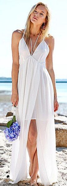 Exceptionnel Plunging Split Maxi Dress, Simple Beach Wedding Dress