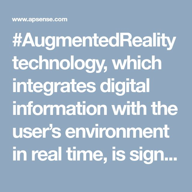 #AugmentedRealitytechnology, which integrates digital information with the user's environment in real time, is significantly transforming the way we interact with the surrounding world.