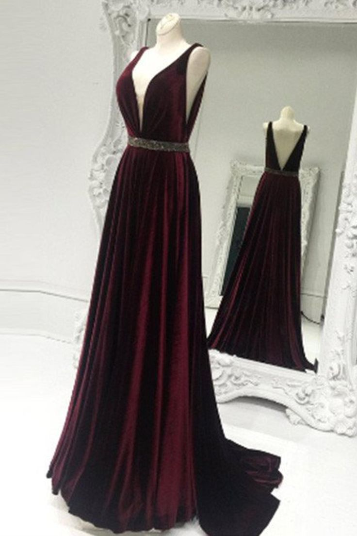 Burgundy velvet prom dress, ball gown,long evening dress ...