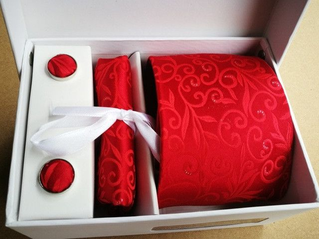 Free Shipping Brand New tie set Necktie Polyester Handmade Classic Dress tie set gift box packing