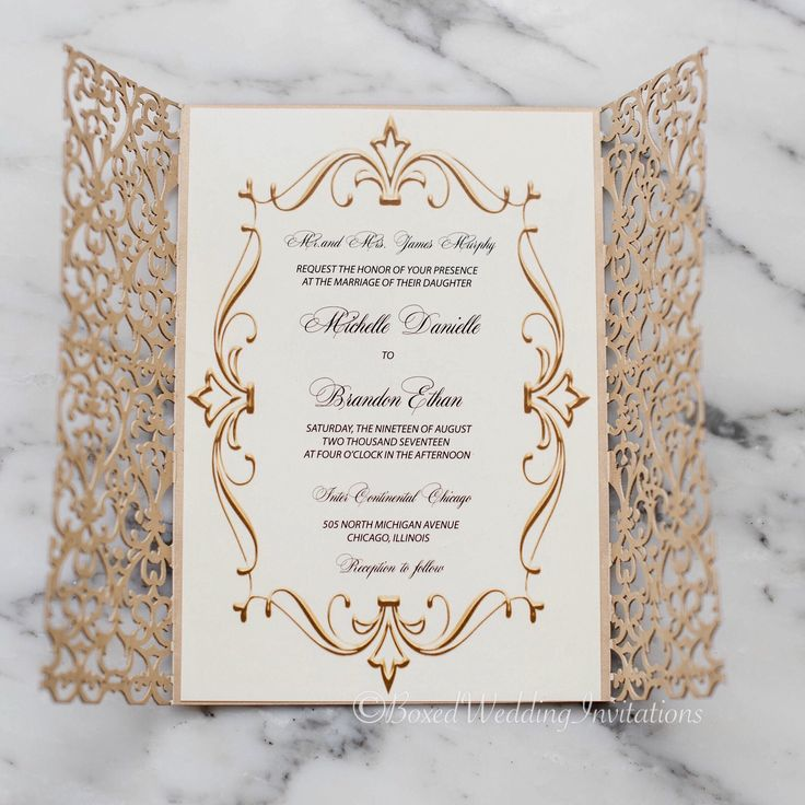 white and gold wedding invitations%0A This royal looking gold laser cut wedding invitation is perfect for the  glitz and glam bride