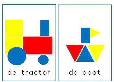 Logi-leggers, voorbeeldkaarten voor de logiblokken. Jufanke.nl