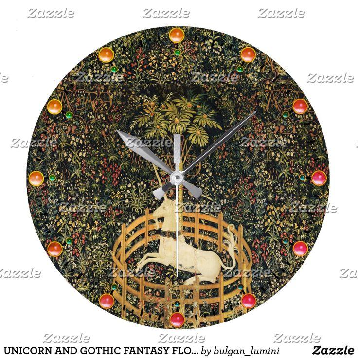 UNICORN AND GOTHIC FANTASY FLOWERS,FLORAL MOTIFS LARGE CLOCK #horses #homedecor #clocks #medieval #antique #gemstones