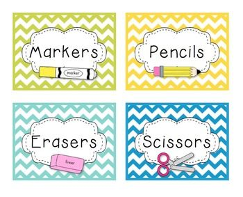 Chevron Classroom Decor - A Calm, Bright, & Organized Classroom...LABELS and MoRe!