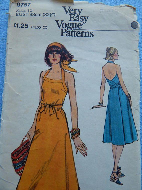 1970's Vintage Sewing Pattern Ladies' Dress Vogue 9757