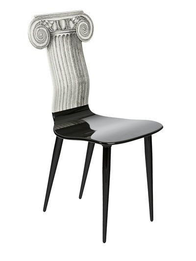 Attractive Black Wood Chair From Fornasetti Featuring A Contrasting Grey Ancient Greek  Column Design As The Back Idea