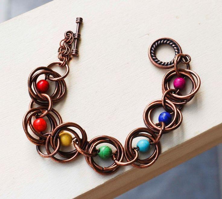 7 Chakras Chainmaille Bracelet Crown Brow Throat Heart Solar Spleen Root Energy #jeanninehandmade #Chain