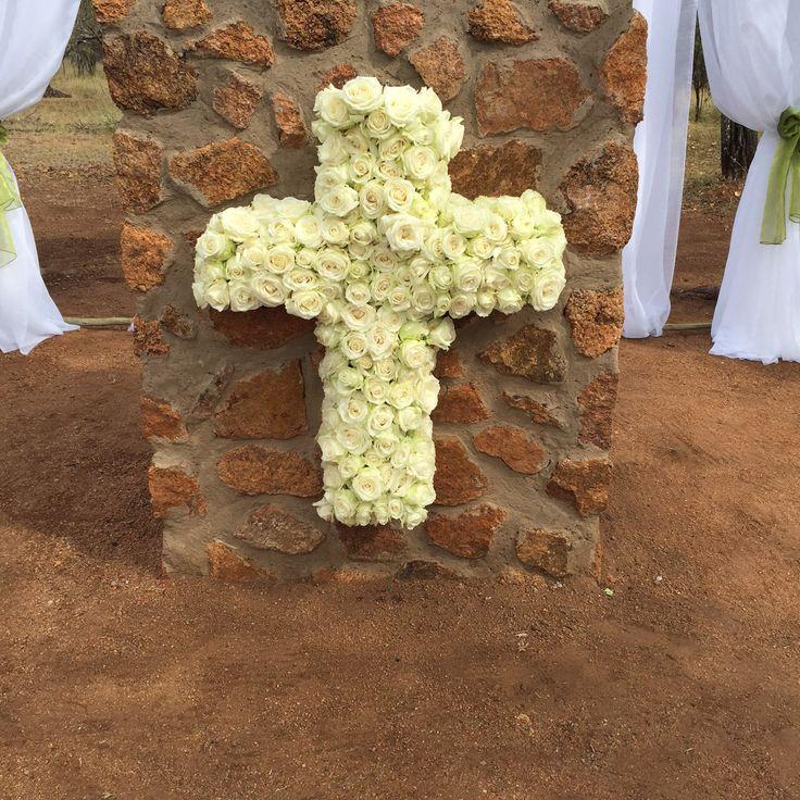 Our signature Rose Cross that we hang up for our #Christian #Weddings #Weddingvenue #Bushveld