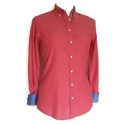 Banana Republic XS Oxford Shirt Women's Red Button Down Cotton Blue Details