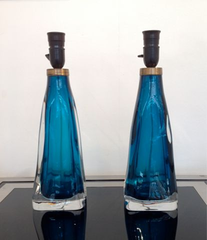 Pair Of Blue Orrefors Glass Lamps