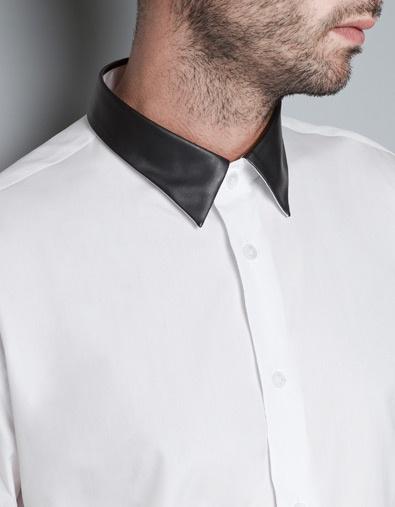 CAMISA CUELLO POLIPIEL - Camisas - Hombre - ZARA