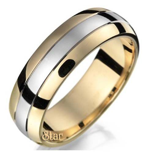 Two Tone Wedding Rings | Star Wedding Bands