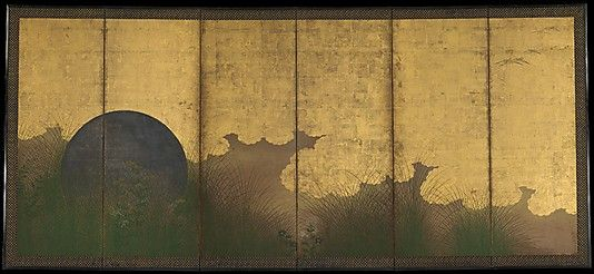 The Plain of Musashi Period: Edo period (1615–1868) Date: 17th century Culture: Japan Medium: Six-panel folding screen; ink, color, and gold on gilt paper Dimensions: Image: 60 1/16 x 140 in. (152.6 x 355.6 cm) Classification: Screen. A full moon, once silver, appears on an unobstructed horizon between a background of golden clouds and a foreground frieze of grasses and autumnal wildflowers: yellow maidenflower, blue and white Chinese bellflower, purple agrimony, and wild chrysanthemum.