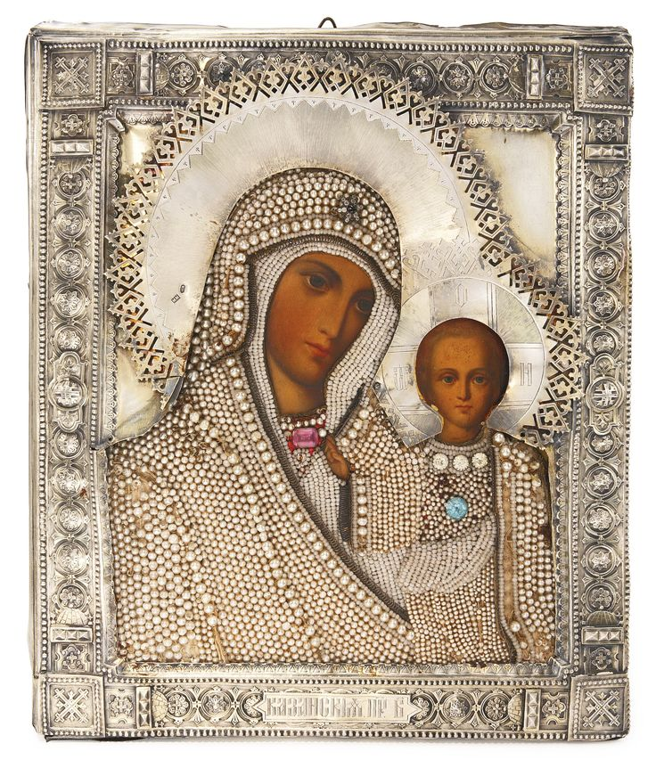 A Russian icon of the Kazan Mother of God with gilded silver oklad   Lot   Sotheby's