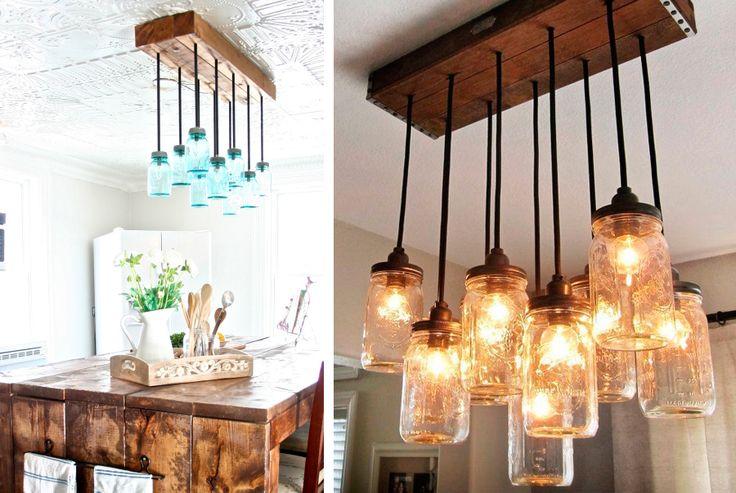 Lampadario per interni creato con i barattoli di vetro #mason #jar #lantern #lamp