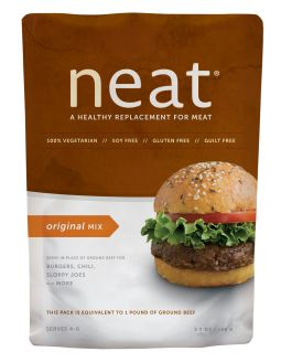 Neat Original Mix plant-based protein for meat dishes. PECANS, GARBANZO BEANS, GLUTEN FREE WHOLE GRAIN OATS, CORNMEAL, GARLIC, ONION, SEA SALT, SPICES.  Neat Meat - a meatless, soy-free, gluten-free option for the goulash recipe I posted