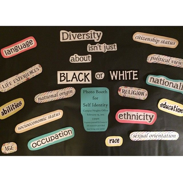 Diversity education bulletin board & program. Diversity isn't just black and white.