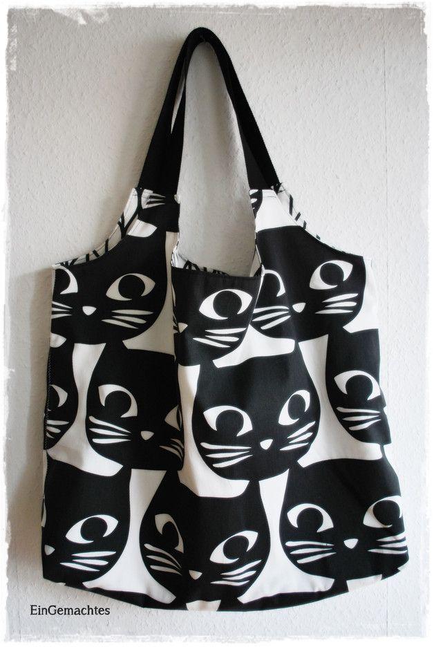 Schultertaschen - CatLove * Markttasche * Strandtasche * Shopper * - ein Designerstück von EinGemachtes bei DaWanda