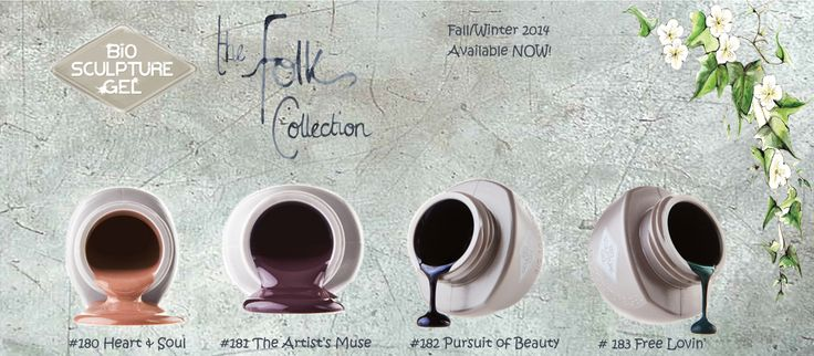 The Bio Sculpture Gel Folk Collection for F/W 2014 comprises of four magical colors that will make an enchanting statement to compliment this season's Autumnal hue.