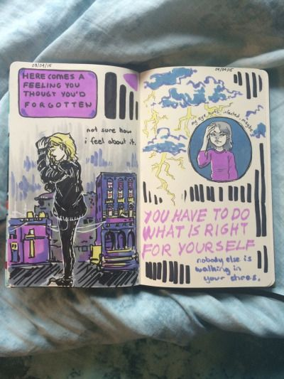 emilythesithlord: forgot to post these pages! art journal p. 21 and 22