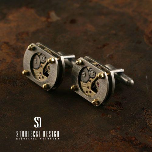 Srebrne oksydowane spinki do mankietów SEN ZEGARMISTRZA Biżuteria Dla mężczyzn stobieckidesign
