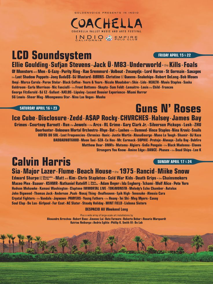 Homepage at Coachella   The Coachella Valley Music and Arts Annual Festival -  Event and visitor information, passes, photo gallery, FAQ, rules, and directions.