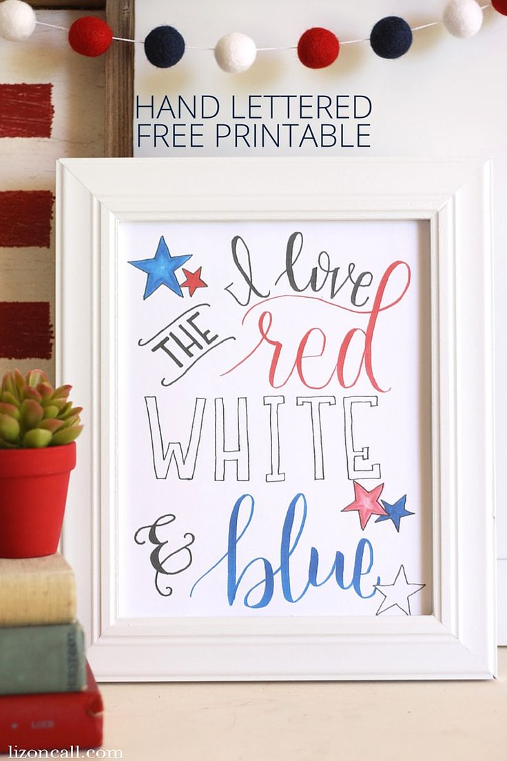 4th of July Hand Lettered Free #Printable