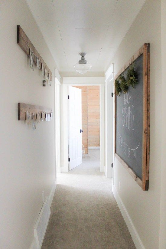 How to lighten and brighten a dark hallway. Benjamin Moore Edgecomb Gray and white trim by Making it In the Mountains