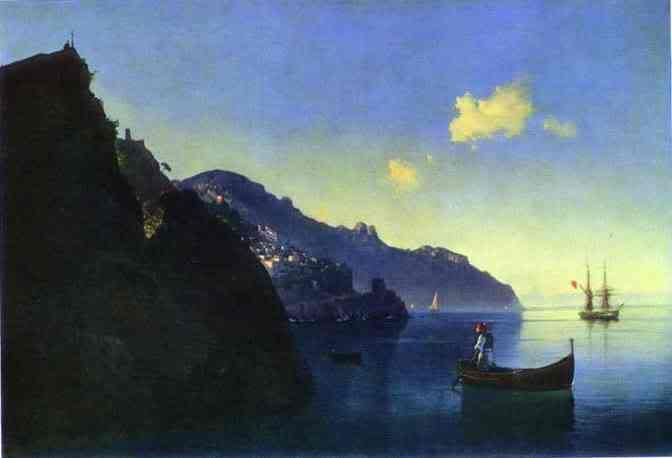 Coasta Amalfi de la. 1841. Ulei pe panza. Muzeul Rusiei, Sankt-Petersburg, Rusia. - See more at: http://s141.photobucket.com/user/opilconst/media/TheCoastatAmalfi1841OiloncanvasTheR.jpg.html#sthash.ik8HIEhP.dpuf