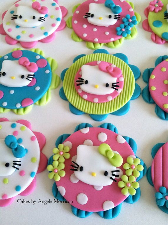 Hello kitty cupcake/cookie toppers by CakesbyAngela on Etsy