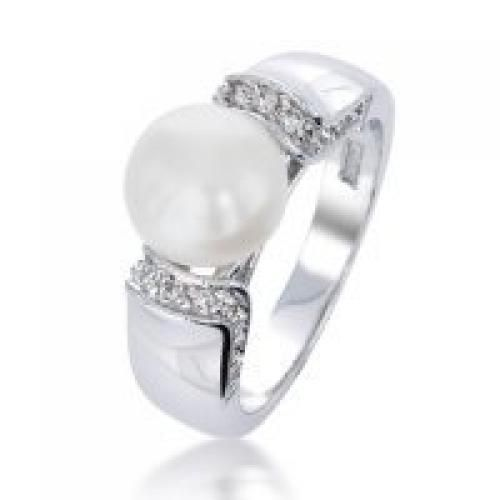 Bling Jewelry Art Deco Freshwater Pearl Pave CZ Ring