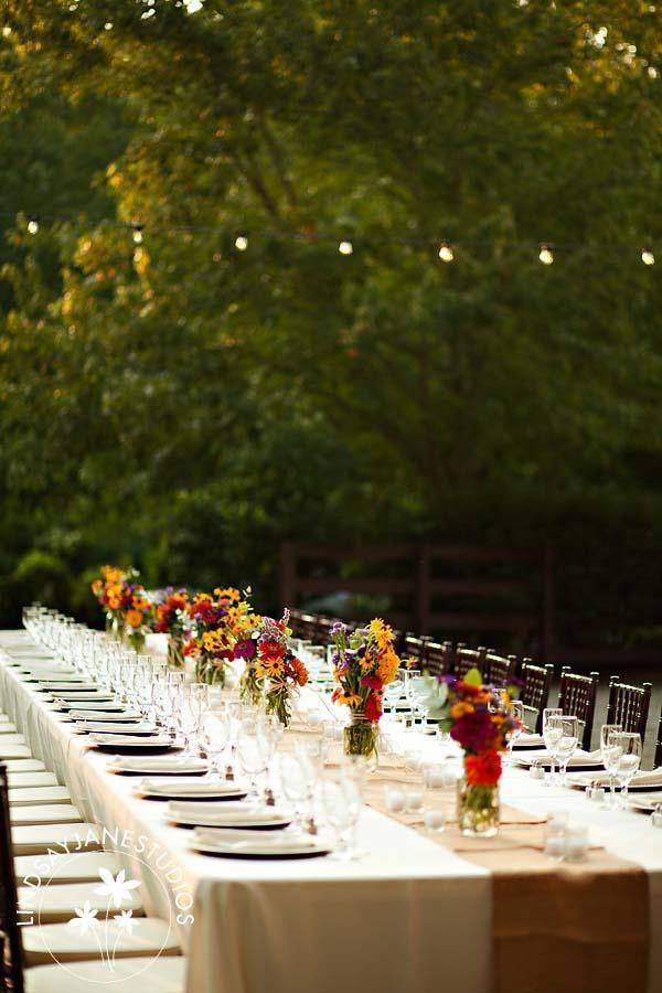 Table setting rustic barn wedding with