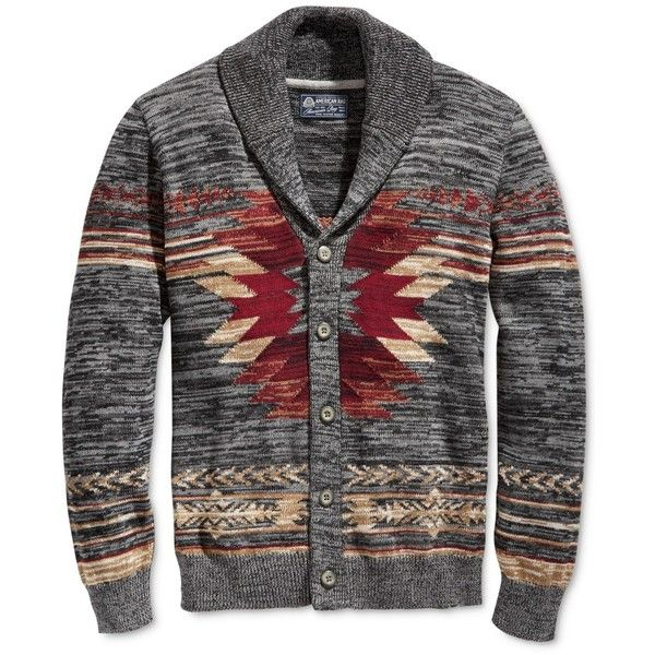 American Rag Men's Southwest Shawl-Collar Cardigan, (200 RON) ❤ liked on Polyvore featuring men's fashion, men's clothing, men's sweaters, ar pewter hthr, mens shawl collar cardigan sweater, mens shawl collar sweater, mens cardigan sweaters and mens sweaters