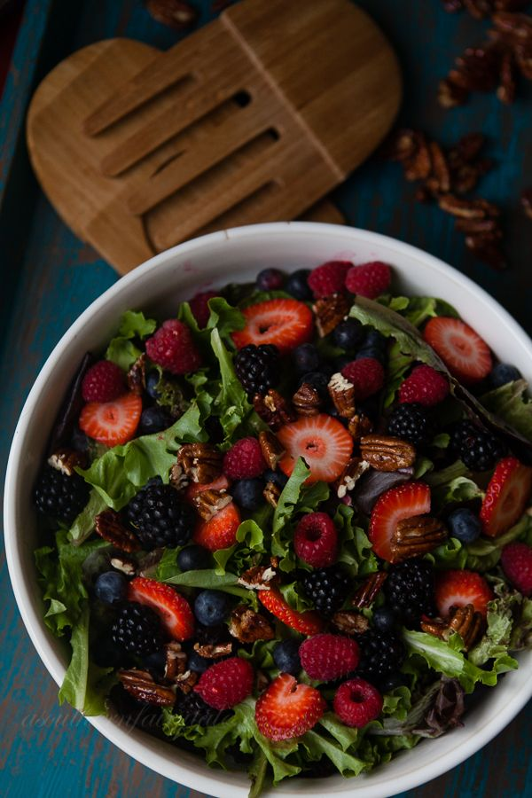 Okay, so berry salad is just one of my favorites, plus glazed pecans? Awesome. Again, the reason it gets put here is that it's mostly red, and looks delicious.