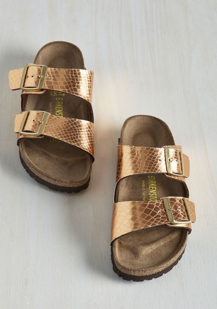 Strappy Camper Sandal in Copper. Set up your tent, kick off those hiking boots, and step into these Birkenstock Arizona sandals! #gold #modcloth