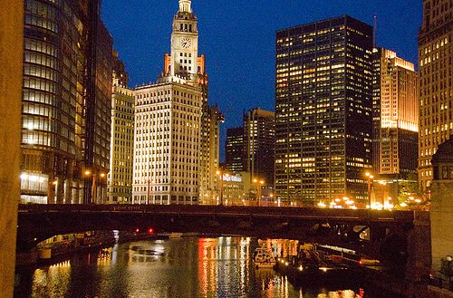 Chicago at night from state street bridge by therese flanagan, via Flickr