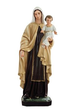 Madonna del Carmine  altezza cm. 170 in vetroresina dipinta con colori acrilici e finiture ad olio disponibile anche con occhi di vetro  http://www.ovunqueproteggimi.com/collezione-statue/madonne/del-carmine/