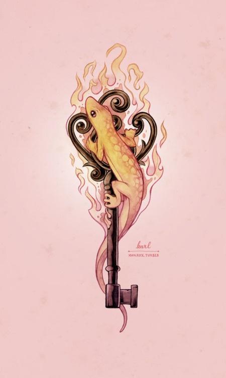 Salamander.  Fire.  Key.    AWESOME!