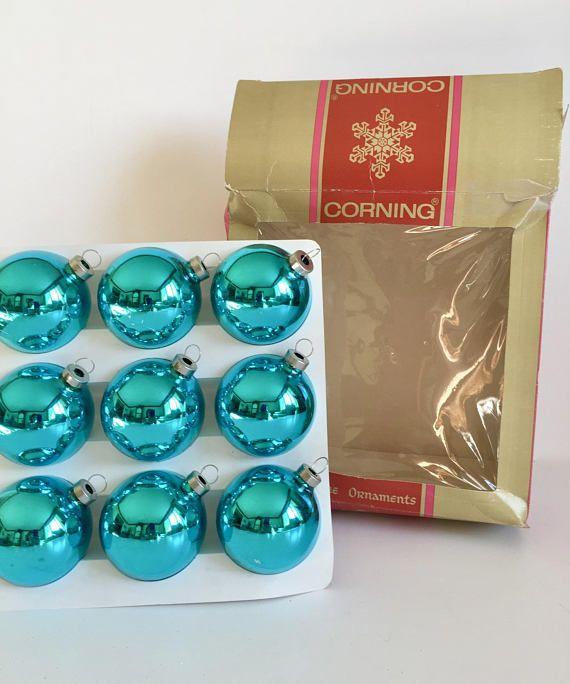 Vintage Corning Glass Works Glass Ball Ornaments Vintage