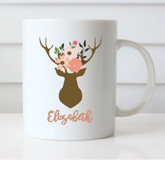 Boho style mug deer antlers and flowers by NoteWorthyStationery