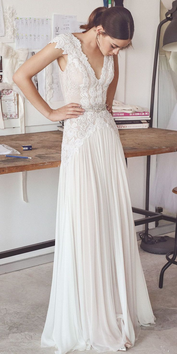 A-Line V-Neck Floor-Length Ivory Chiffon Boho Wedding Dress with Beading Lace