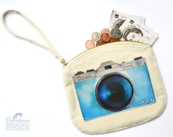Camera Canvas Zip Purse Makeup Bag Coin Purse Small Accessory Pouch by ceridwenDESIGN http://ift.tt/1oX4o2X