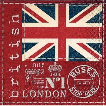Servilletas para decoupage british flag 33 X 33 cm.
