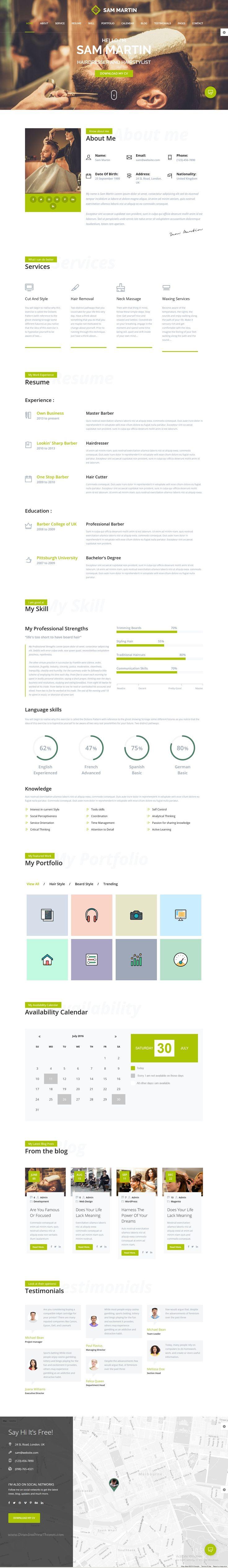 Sam Martin is an elegant, Bootstrap HTML #portfolio template for #beautician #barber vCard, #resume website download now➝ https://themeforest.net/item/sam-martin-personal-vcard-resume-html-template/16795240?ref=Datasata