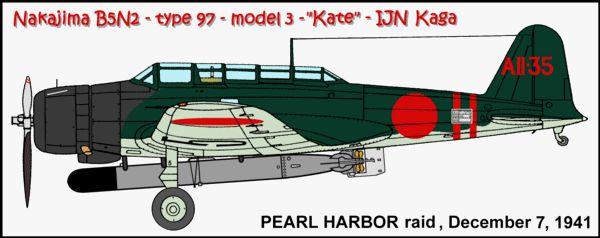 Окрас торпедоносца Кейт AII-35 (IJN Kaga, атака на Перл-Харбор) Особенности: окрас хвоста - ЗЕЛЁНЫЙ, не коричневый.  Экипаж: Пилот F1c Shuzo Kitahara  Штурман PO2c Yoshio Shimizu Стрелок-радист PO2c Haruo Onishi