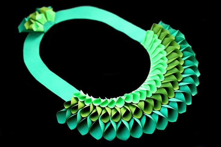 """""""Colibri"""" statement necklace made from recycled fabrics."""